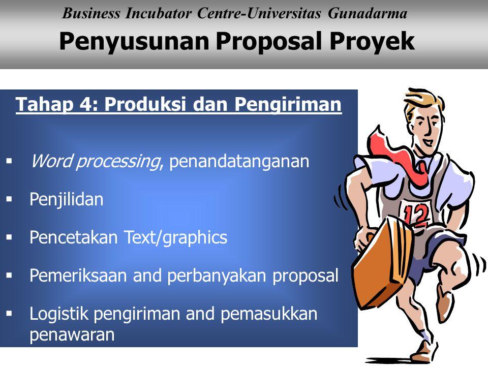 Penyusunan Proposal Proyek Business Incubator Centre-Universitas Gunadarma Tahap 4: Produksi dan Pengiriman  Word processing, penandatanganan  Penji