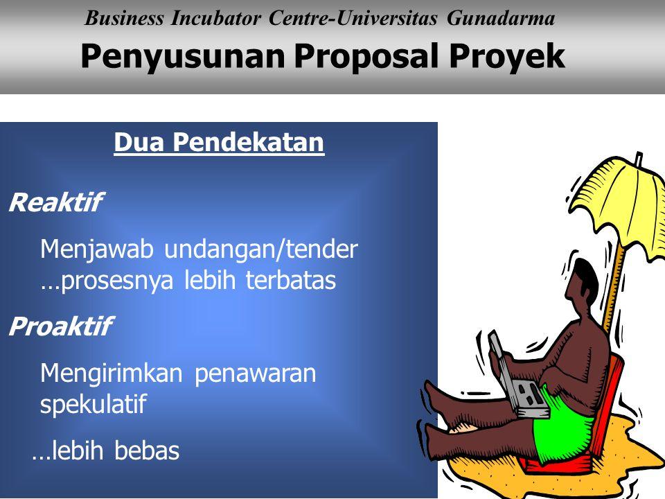 Penyusunan Proposal Proyek Business Incubator Centre-Universitas Gunadarma Dua Pendekatan Reaktif Menjawab undangan/tender …prosesnya lebih terbatas Proaktif Mengirimkan penawaran spekulatif …lebih bebas