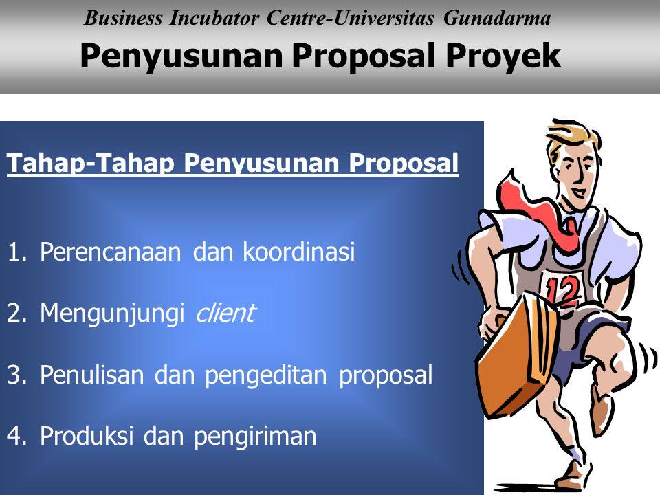 Penyusunan Proposal Proyek Business Incubator Centre-Universitas Gunadarma Tahap-Tahap Penyusunan Proposal 1.Perencanaan dan koordinasi 2.Mengunjungi