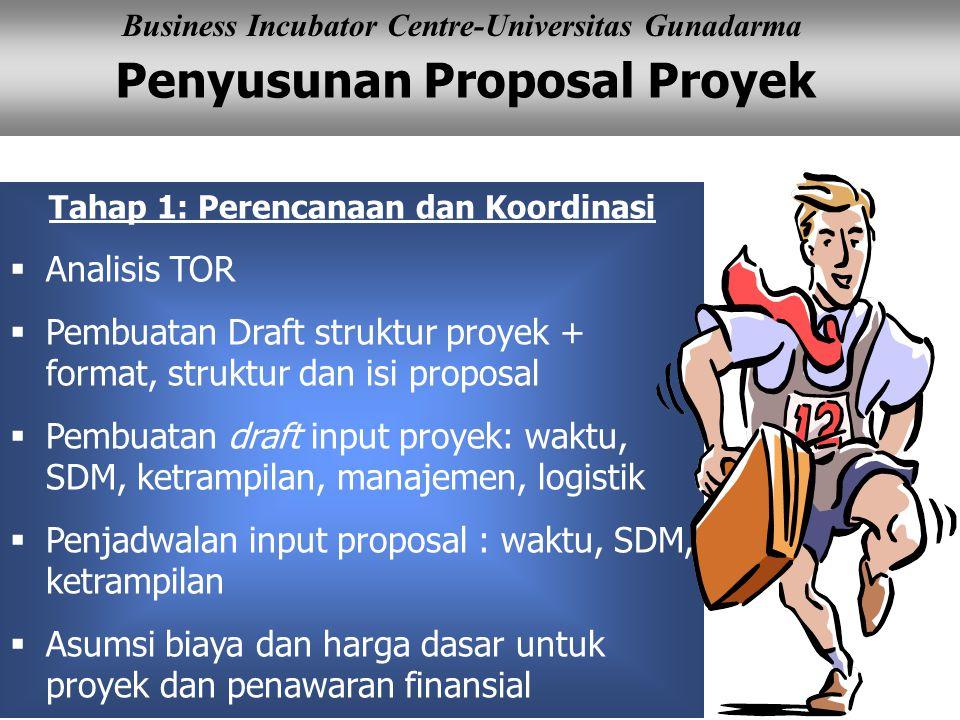 Penyusunan Proposal Proyek Business Incubator Centre-Universitas Gunadarma Tahap 1: Perencanaan dan Koordinasi  Analisis TOR  Pembuatan Draft struktur proyek + format, struktur dan isi proposal  Pembuatan draft input proyek: waktu, SDM, ketrampilan, manajemen, logistik  Penjadwalan input proposal : waktu, SDM, ketrampilan  Asumsi biaya dan harga dasar untuk proyek dan penawaran finansial