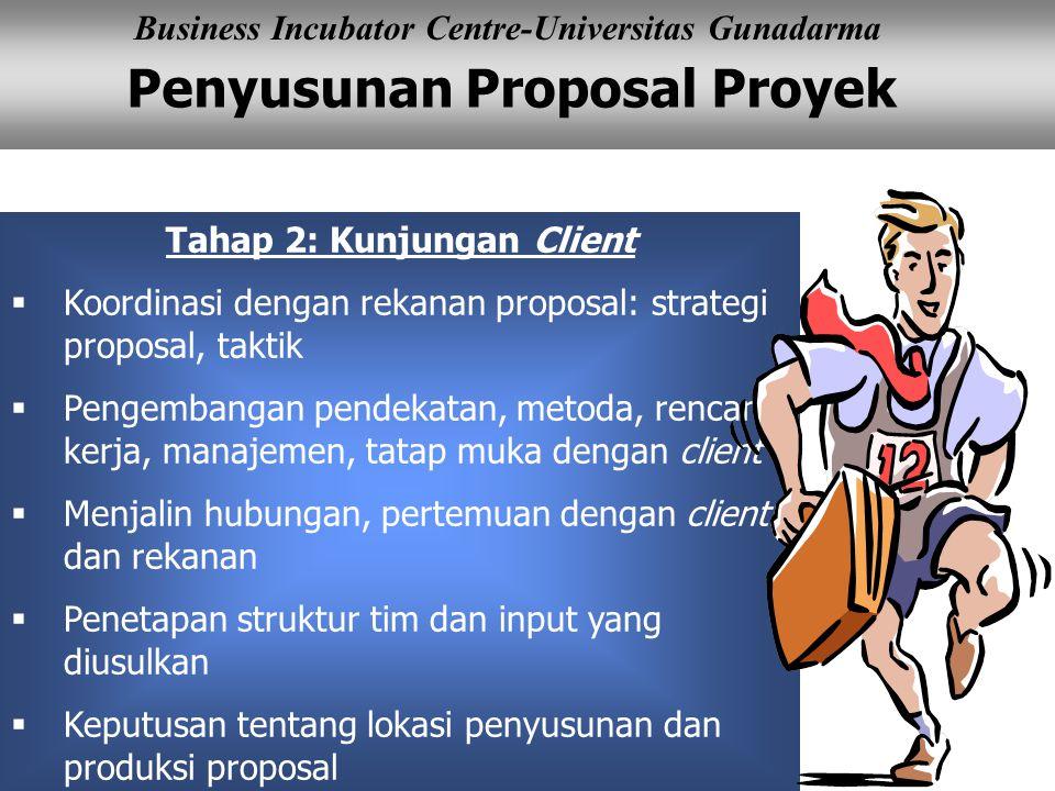 Penyusunan Proposal Proyek Business Incubator Centre-Universitas Gunadarma Tahap 2: Kunjungan Client  Koordinasi dengan rekanan proposal: strategi pr