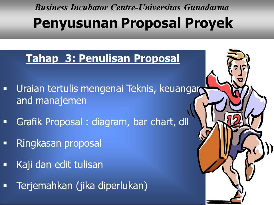 Penyusunan Proposal Proyek Business Incubator Centre-Universitas Gunadarma Tahap 3: Penulisan Proposal  Uraian tertulis mengenai Teknis, keuangan and manajemen  Grafik Proposal : diagram, bar chart, dll  Ringkasan proposal  Kaji dan edit tulisan  Terjemahkan (jika diperlukan)