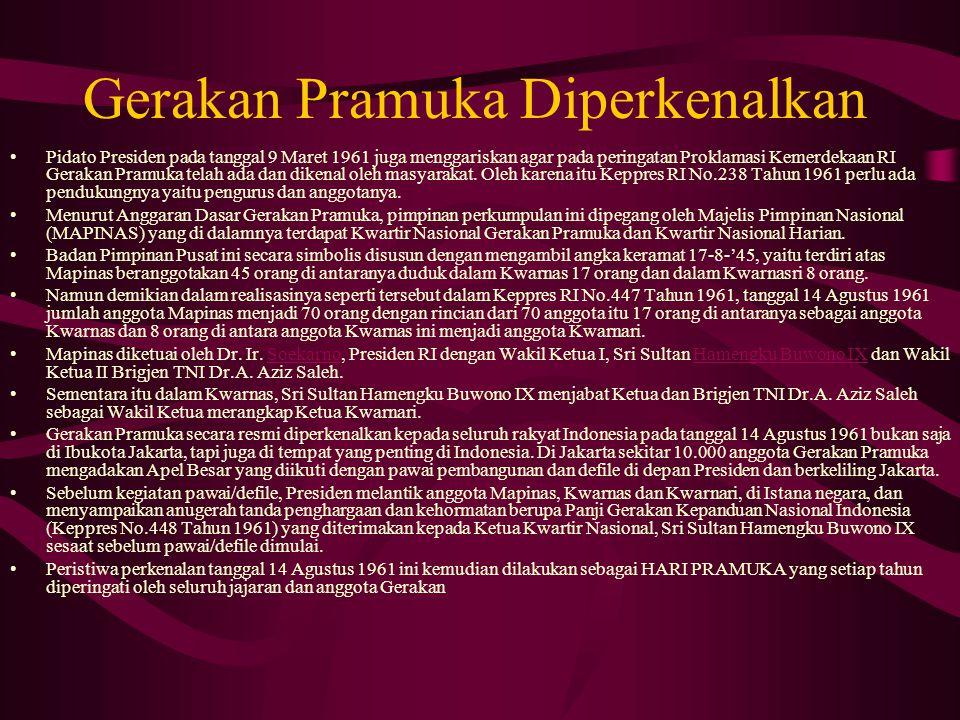 Gerakan Pramuka Diperkenalkan Pidato Presiden pada tanggal 9 Maret 1961 juga menggariskan agar pada peringatan Proklamasi Kemerdekaan RI Gerakan Pramu