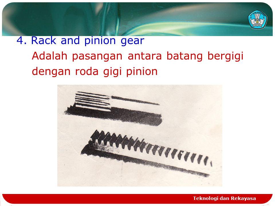 Teknologi dan Rekayasa 3. Roda gigi cacing dan ulir cacing (worm gear & worm) Roda gigi ini berfungsi untuk memindahkan daya dan putaran pada sumbu ya