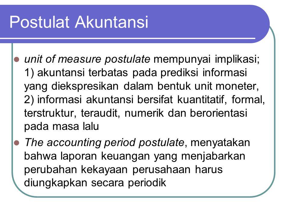 Postulat Akuntansi unit of measure postulate mempunyai implikasi; 1) akuntansi terbatas pada prediksi informasi yang diekspresikan dalam bentuk unit m
