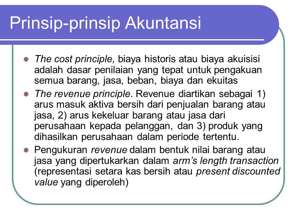 Prinsip-prinsip Akuntansi The cost principle, biaya historis atau biaya akuisisi adalah dasar penilaian yang tepat untuk pengakuan semua barang, jasa,