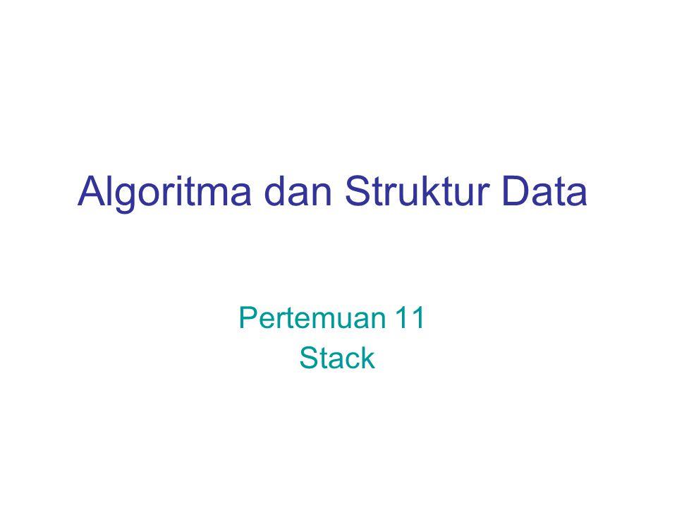 ADT Stack  Stack merupakan list dengan operasi insert dan delete sedemikian hingga node yang terakhir diinsertkan merupakan node yang pertama kali didelete  Stack biasanya digambarkan sebagai tumpukan barang di mana operasi insert dan delete dilakukan di bagian puncak tumpukan  Operasi stack : isFull, isEmpty, makeEmpty, push, pop, top.