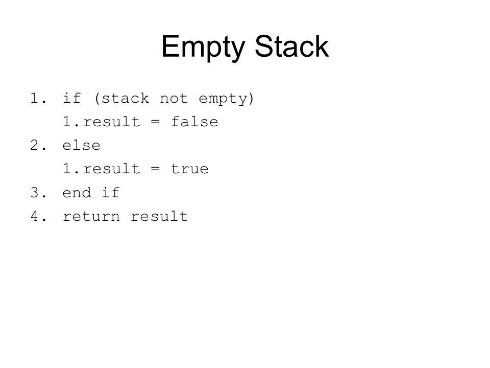 Empty Stack 1.if (stack not empty) 1.result = false 2.else 1.result = true 3.end if 4.return result