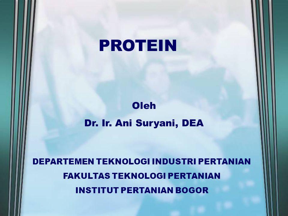 PROTEIN Oleh Dr. Ir. Ani Suryani, DEA DEPARTEMEN TEKNOLOGI INDUSTRI PERTANIAN FAKULTAS TEKNOLOGI PERTANIAN INSTITUT PERTANIAN BOGOR