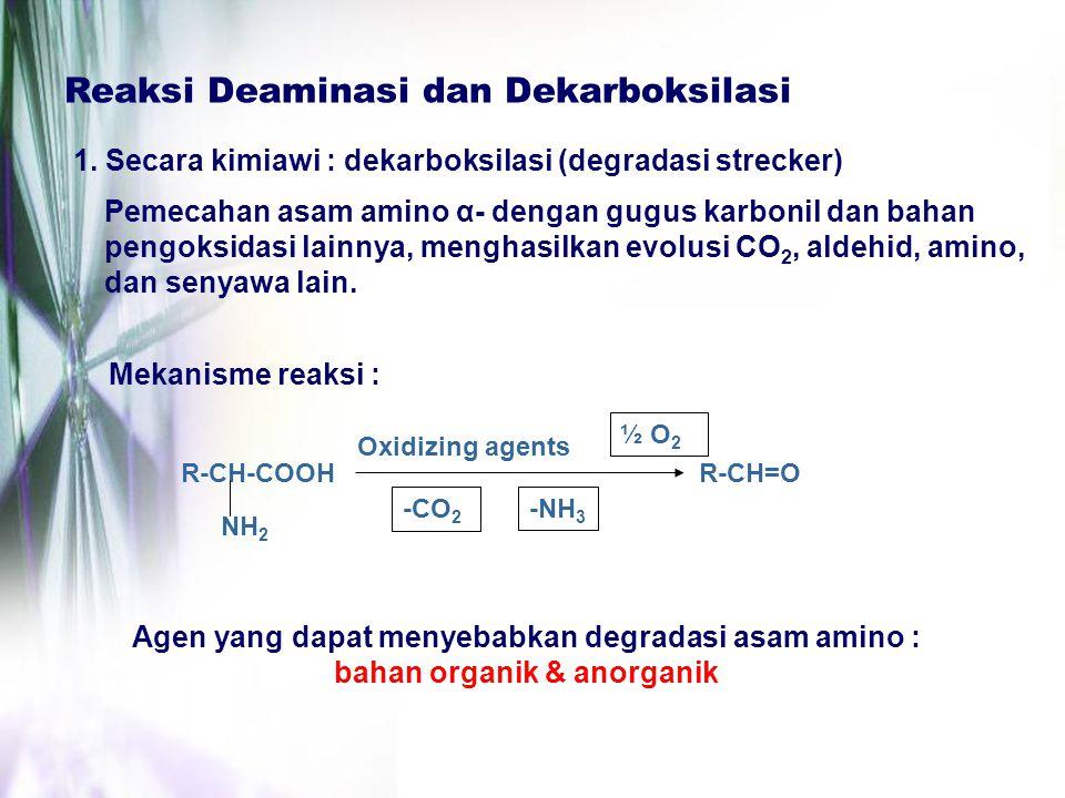Reaksi Deaminasi dan Dekarboksilasi 1. Secara kimiawi : dekarboksilasi (degradasi strecker) Pemecahan asam amino α- dengan gugus karbonil dan bahan pe