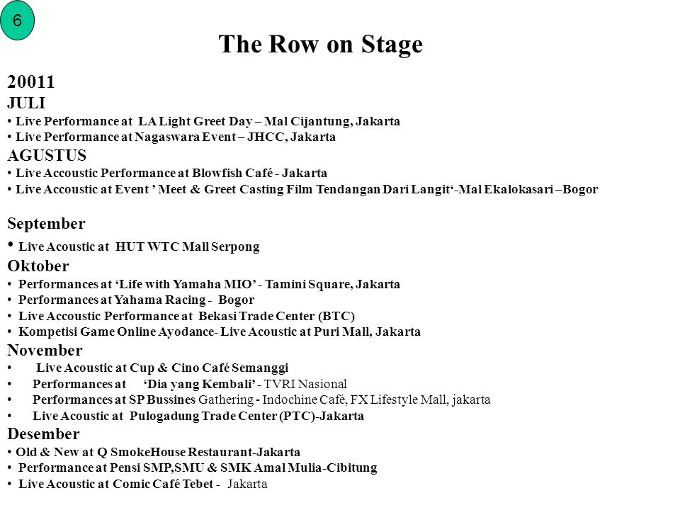 The Row on Stage 6