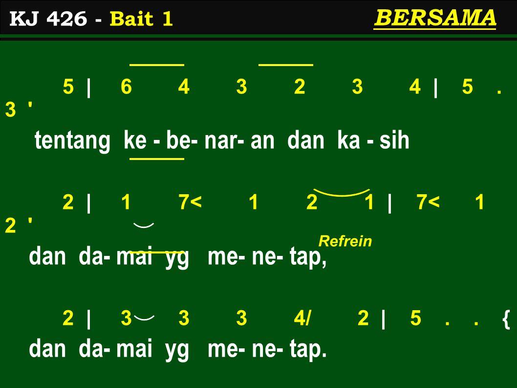 1.2 | 3 3. 3 4 3. 2/ | 3. 1 Ki - ta ha- rus ber- sak- si di du - nia 3.