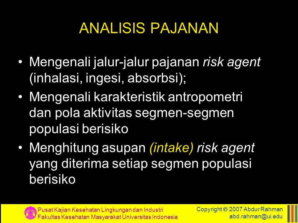 Pusat Kajian Kesehatan Lingkungan dan Industri Fakultas Kesehatan Masyarakat Universitas Indonesia Copyright  2007 Abdur Rahman abd.rahman@ui.edu ANA