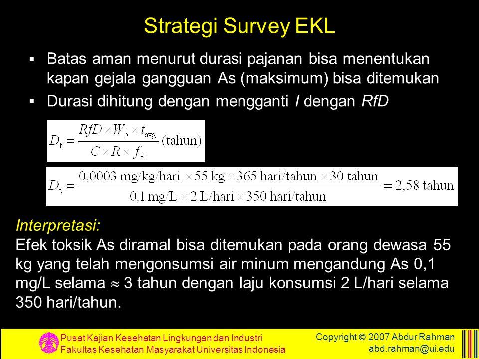 Pusat Kajian Kesehatan Lingkungan dan Industri Fakultas Kesehatan Masyarakat Universitas Indonesia Copyright  2007 Abdur Rahman abd.rahman@ui.edu Str
