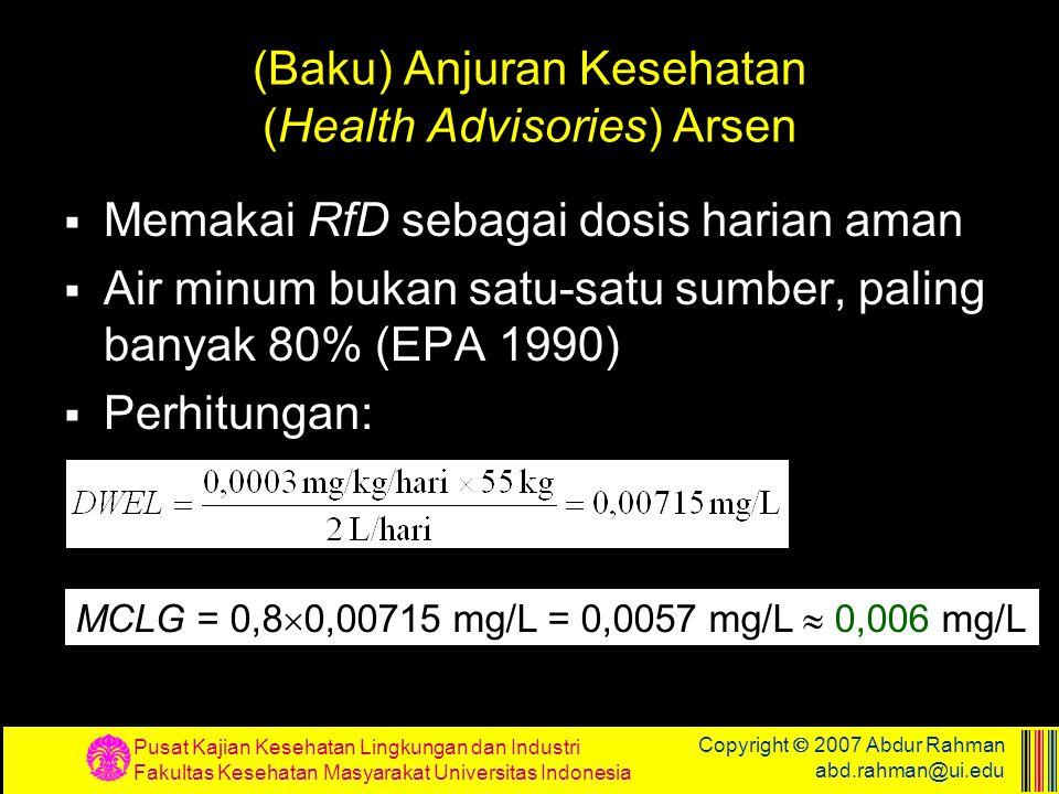 Pusat Kajian Kesehatan Lingkungan dan Industri Fakultas Kesehatan Masyarakat Universitas Indonesia Copyright  2007 Abdur Rahman abd.rahman@ui.edu (Ba