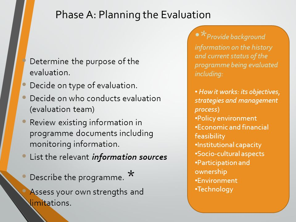 Phase A: Planning the Evaluation Determine the purpose of the evaluation. Decide on type of evaluation. Decide on who conducts evaluation (evaluation