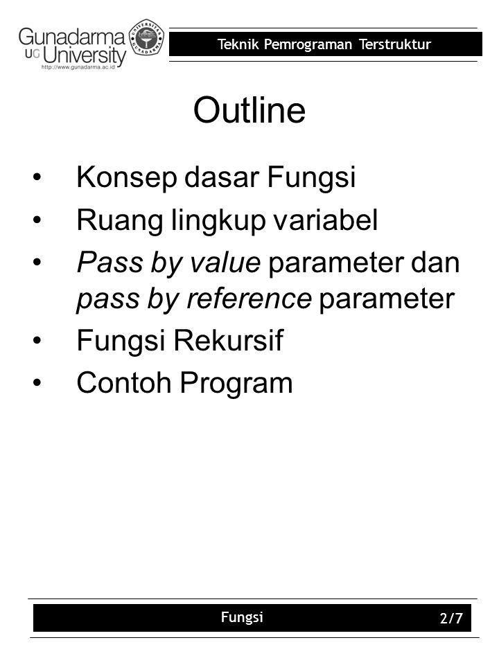 Teknik Pemrograman Terstruktur Fungsi 2/7 Outline Konsep dasar Fungsi Ruang lingkup variabel Pass by value parameter dan pass by reference parameter Fungsi Rekursif Contoh Program
