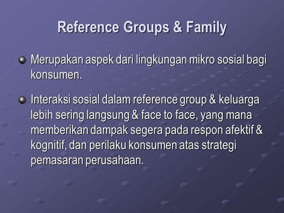 Reference Groups & Family Merupakan aspek dari lingkungan mikro sosial bagi konsumen. Interaksi sosial dalam reference group & keluarga lebih sering l