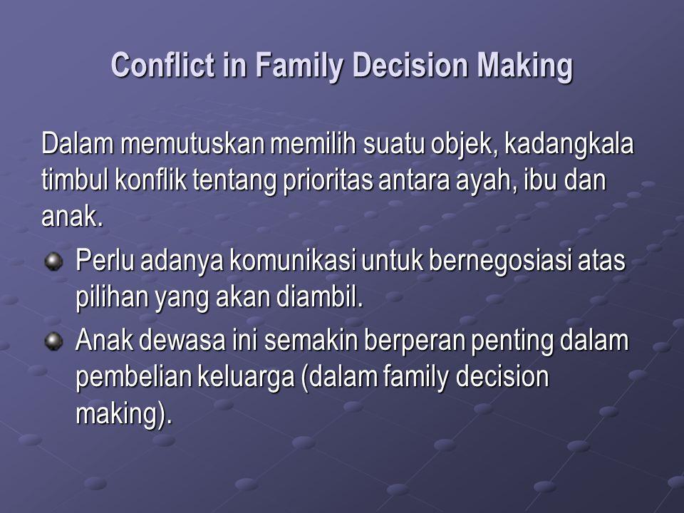 Conflict in Family Decision Making Dalam memutuskan memilih suatu objek, kadangkala timbul konflik tentang prioritas antara ayah, ibu dan anak. Perlu