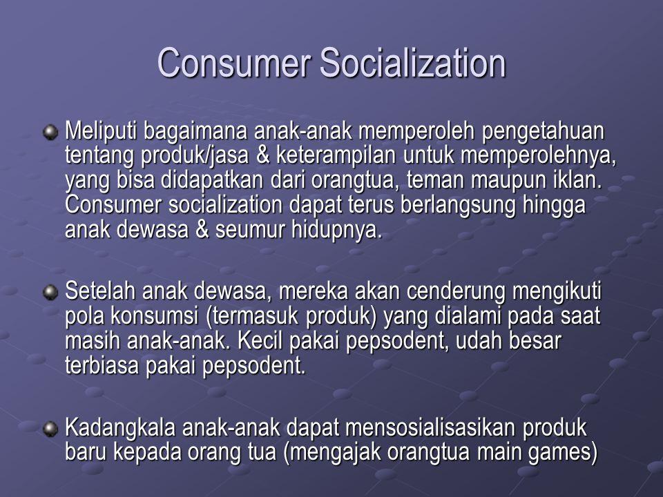 Consumer Socialization Meliputi bagaimana anak-anak memperoleh pengetahuan tentang produk/jasa & keterampilan untuk memperolehnya, yang bisa didapatka