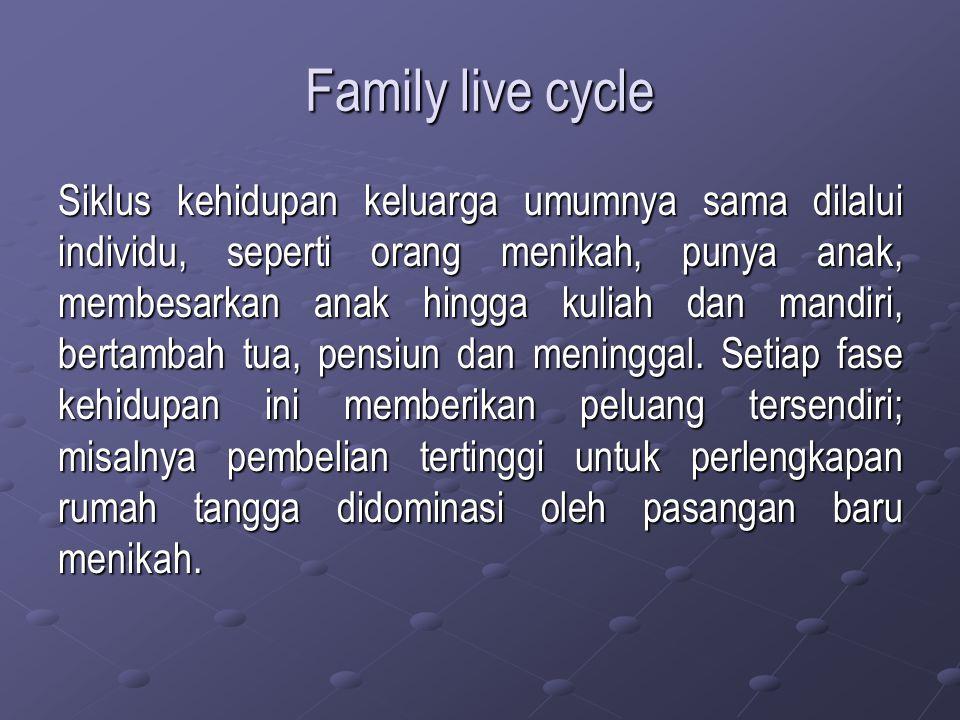 Family live cycle Siklus kehidupan keluarga umumnya sama dilalui individu, seperti orang menikah, punya anak, membesarkan anak hingga kuliah dan mandi