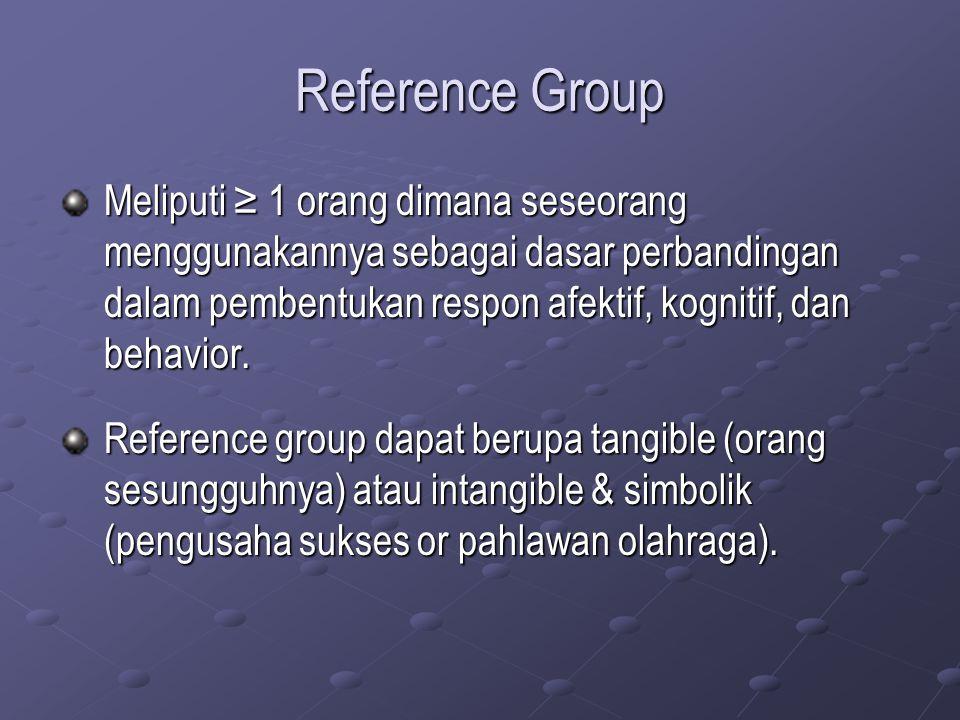 Reference Group Meliputi ≥ 1 orang dimana seseorang menggunakannya sebagai dasar perbandingan dalam pembentukan respon afektif, kognitif, dan behavior