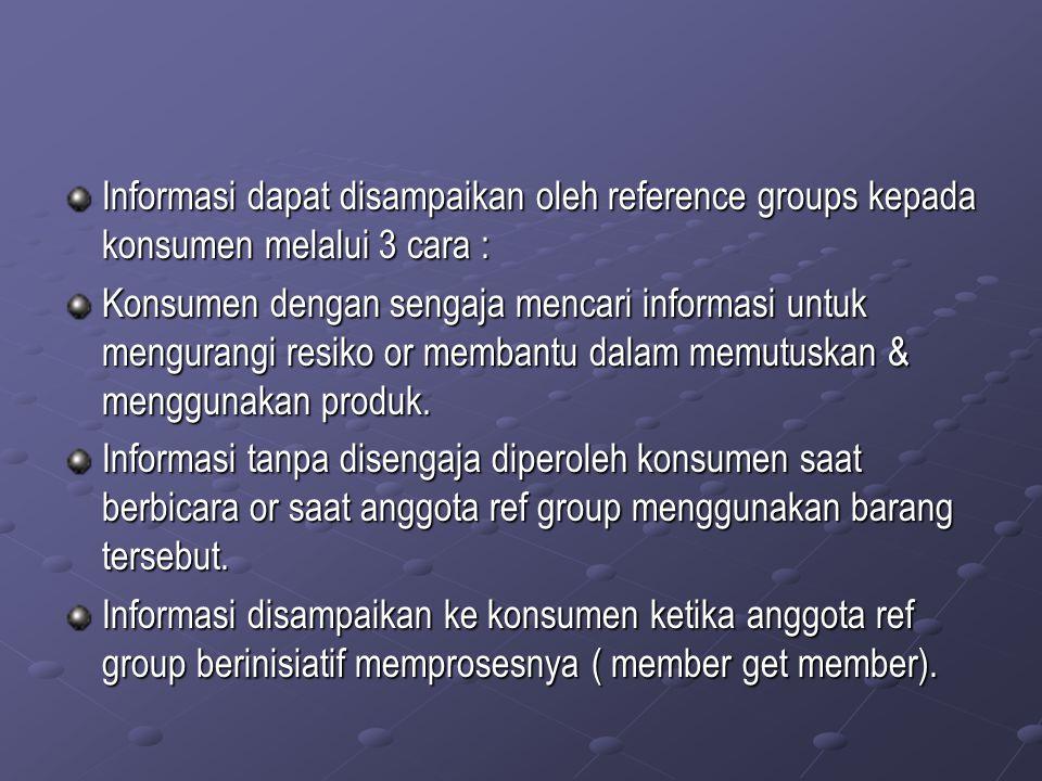 Utilitiarian Reference Group Pengaruh ini timbul bila referens group mengendalikan reward maupun hukuman yang significan.