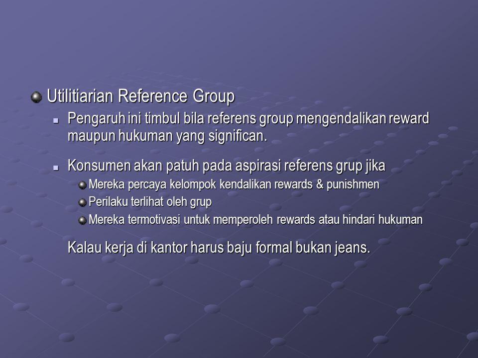 Utilitiarian Reference Group Pengaruh ini timbul bila referens group mengendalikan reward maupun hukuman yang significan. Pengaruh ini timbul bila ref