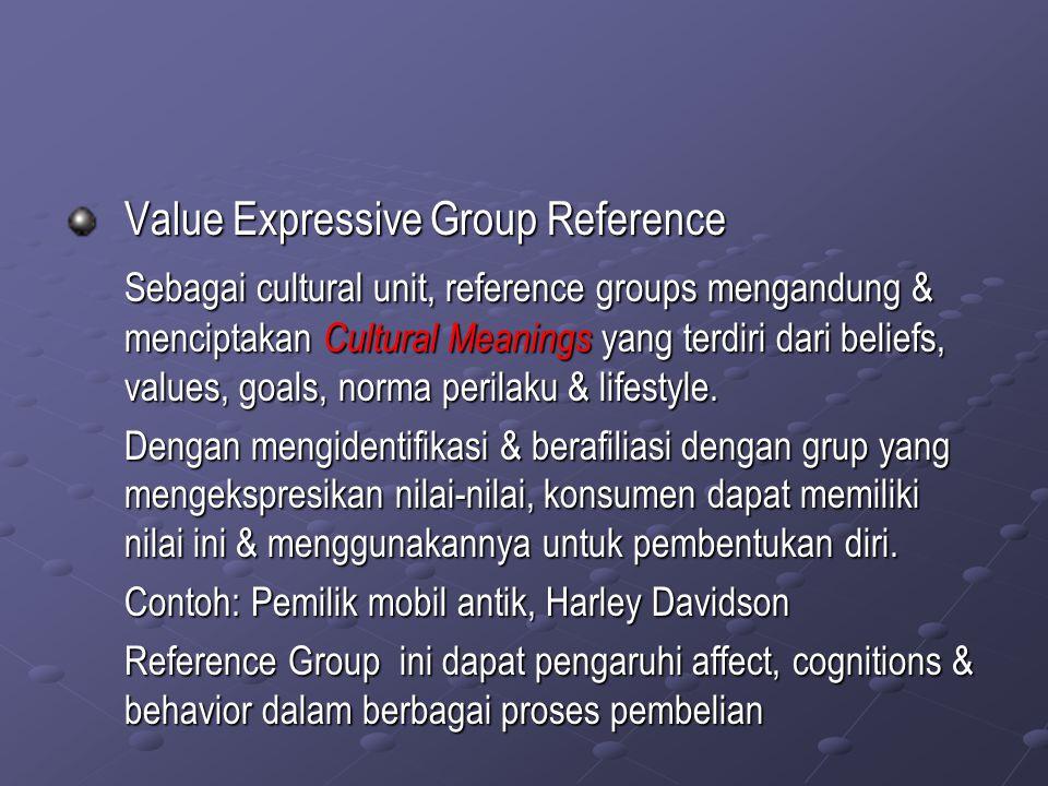 Value Expressive Group Reference Sebagai cultural unit, reference groups mengandung & menciptakan Cultural Meanings yang terdiri dari beliefs, values,