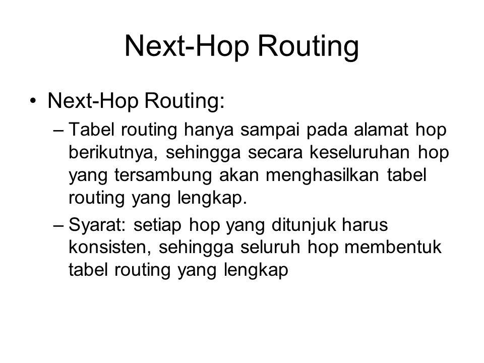 Next-Hop Routing Next-Hop Routing: –Tabel routing hanya sampai pada alamat hop berikutnya, sehingga secara keseluruhan hop yang tersambung akan menghasilkan tabel routing yang lengkap.