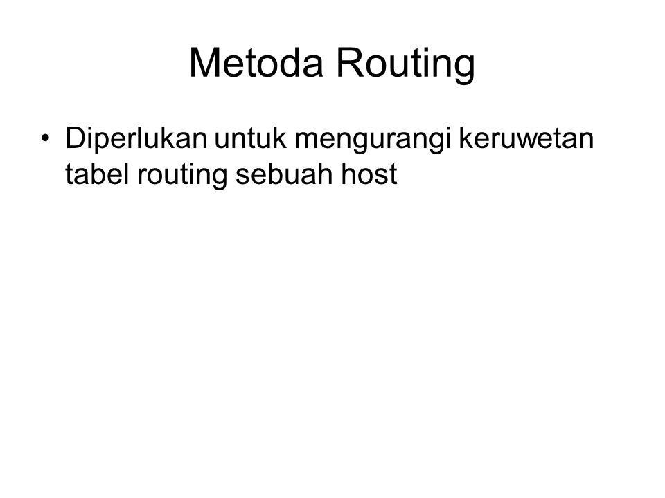 Kolom tiap tabel routing (c.) Flag: –U (up): menunjukkan bahwa router dapat dihubungi (hidup) –G (gateway): menunjukkan bahwa tujuan terletak pada jaringan yang berbeda –H (host-spesifik): menunjukkan bahwa entry tujuan adalah host-specific address –D (added by redirection): menunjukkan bahwa alamat tujuan hasil tambahan dari tabel routing yang diterima –M (Modified by redirection): menunjukkan bahwa tabel routing telah berubah berdasarkan tabel routing baru yang telah diterima Reference Count:: –menjunjukkan jumlah user yang sedang menggunakan router untuk mengirim paket Use: –menunjukkan jumlah paket yang ditransmisikan oleh router tersebut Interface: –menunjukkan nama interface yang digunakan untuk mengirimkan paket ke alamat tujuan