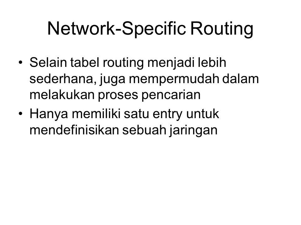 Network-Specific Routing Selain tabel routing menjadi lebih sederhana, juga mempermudah dalam melakukan proses pencarian Hanya memiliki satu entry untuk mendefinisikan sebuah jaringan