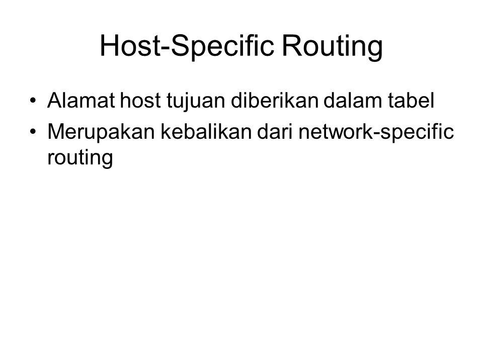 Host-Specific Routing Alamat host tujuan diberikan dalam tabel Merupakan kebalikan dari network-specific routing