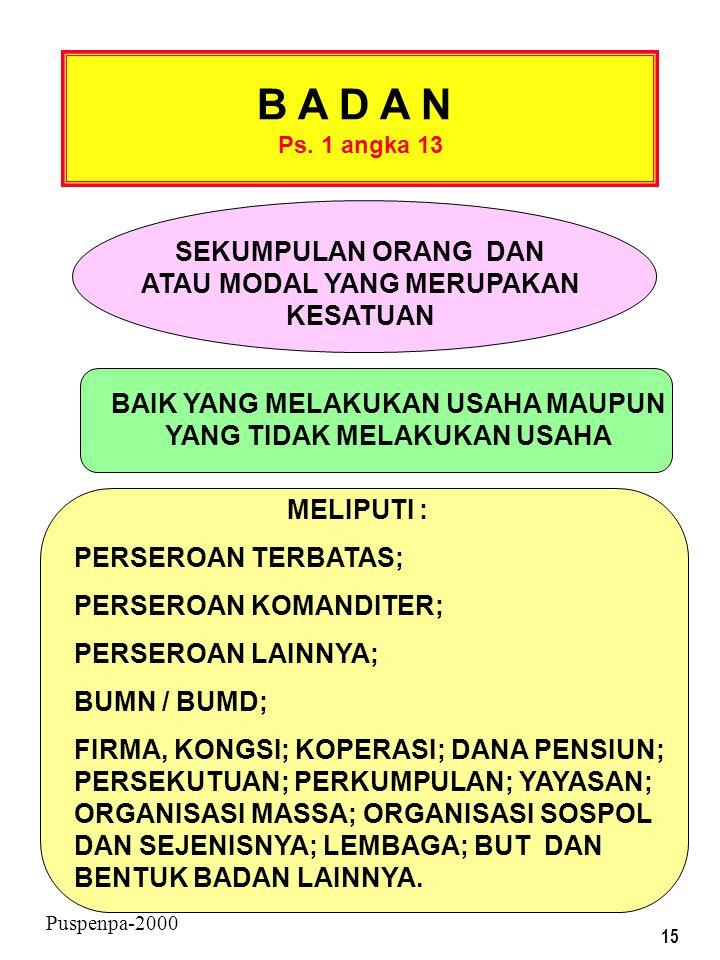 14 Puspenpa-2000 IMPOR ( Ps. 1 angka 9 ) ADALAH SETIAP KEGIATAN MEMASUKKAN BARANG DARI LUAR DAERAH PABEAN KE DLM DAERAH PABEAN PERDAGANGAN ( Ps. 1 ang