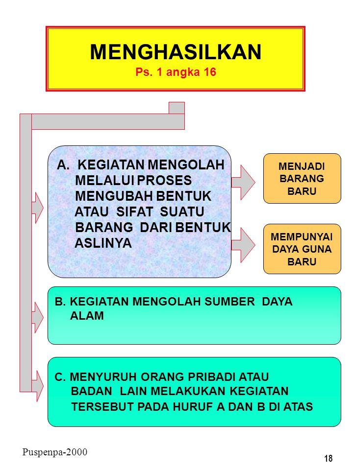 17 Puspenpa-2000 YANG DIKENAKAN PAJAK BERDASARKAN UU PPN PENGUSAHA KENA PAJAK (PKP) Ps. 1 angka 15 YANG MELAKUKAN PENYERAHAN BKP/JKP TIDAK TERMASUK PE