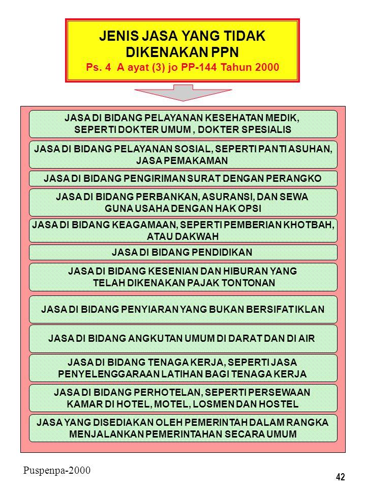 41 Puspenpa-2000 JENIS BARANG YANG TIDAK DIKENAKAN PPN Ps. 4 A ayat (1) dan (2) jo. PP-144 Th 2000 BARANG-BARANG KEBUTUHAN POKOK YANG SANGAT DIBUTUHKA
