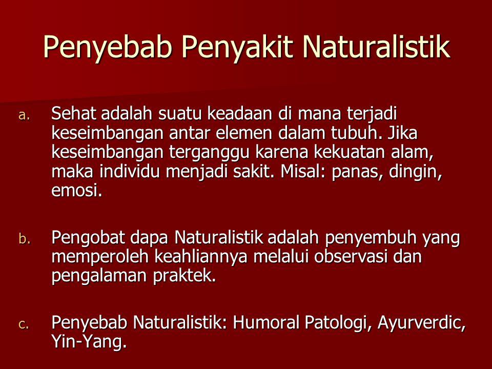 Penyebab Penyakit Naturalistik a. Sehat adalah suatu keadaan di mana terjadi keseimbangan antar elemen dalam tubuh. Jika keseimbangan terganggu karena