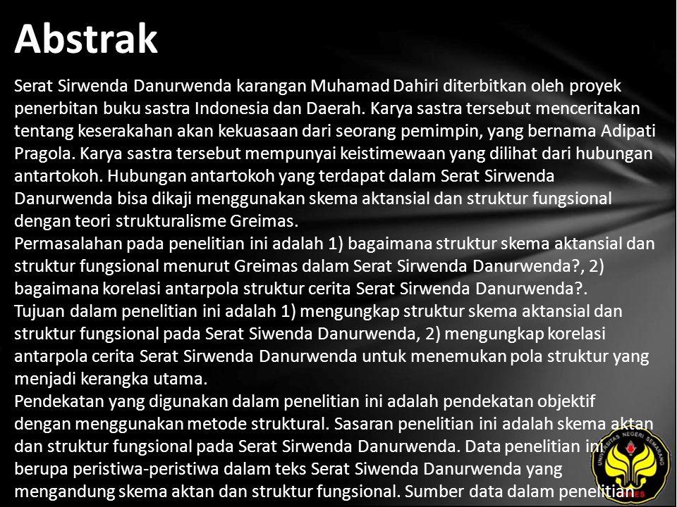 Abstrak Serat Sirwenda Danurwenda karangan Muhamad Dahiri diterbitkan oleh proyek penerbitan buku sastra Indonesia dan Daerah.