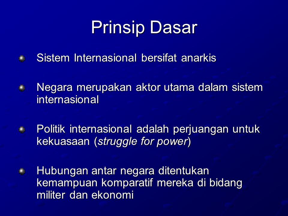 Prinsip Dasar Sistem Internasional bersifat anarkis Negara merupakan aktor utama dalam sistem internasional Politik internasional adalah perjuangan untuk kekuasaan (struggle for power) Hubungan antar negara ditentukan kemampuan komparatif mereka di bidang militer dan ekonomi
