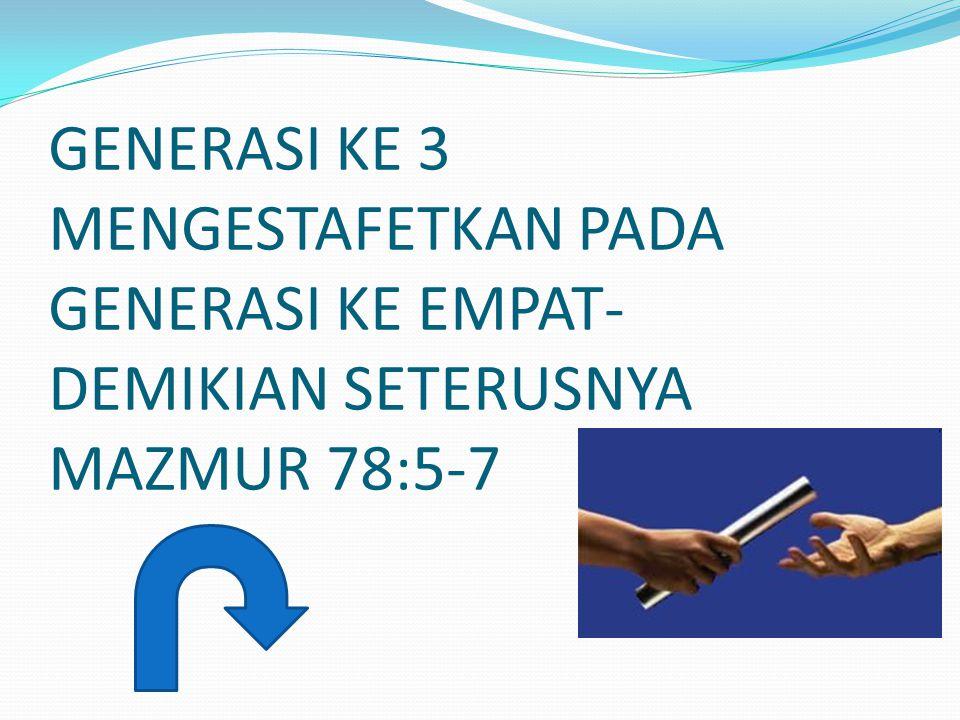 MazmurMazmur 78: 5-7 TELAH DITETAPKAN-NYA PERINGATAN DI YAKUB DAN HUKUM TAURAT DIBERI-NYA DI ISRAEL; NENEK MOYANG KITA DIPERINTAHKAN-NYA UNTUK MEMPERKENALKANNYA KEPADA ANAK-ANAK MEREKA, SUPAYA DIKENAL OLEH ANGKATAN YANG KEMUDIAN,