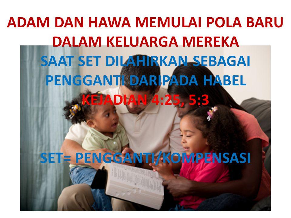 ADAM DAN HAWA MEMULAI POLA BARU DALAM KELUARGA MEREKA SAAT SET DILAHIRKAN SEBAGAI PENGGANTI DARIPADA HABEL KEJADIAN 4:25, 5:3 SET= PENGGANTI/KOMPENSAS