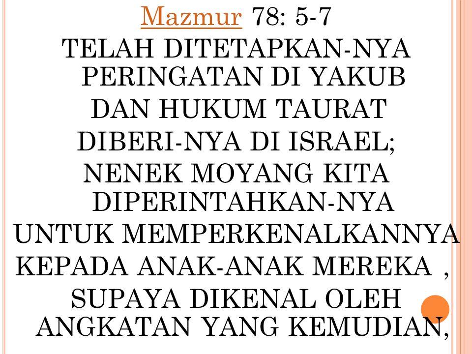 MazmurMazmur 78: 5-7 TELAH DITETAPKAN-NYA PERINGATAN DI YAKUB DAN HUKUM TAURAT DIBERI-NYA DI ISRAEL; NENEK MOYANG KITA DIPERINTAHKAN-NYA UNTUK MEMPERK