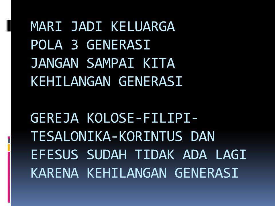 MARI JADI KELUARGA POLA 3 GENERASI JANGAN SAMPAI KITA KEHILANGAN GENERASI GEREJA KOLOSE-FILIPI- TESALONIKA-KORINTUS DAN EFESUS SUDAH TIDAK ADA LAGI KA