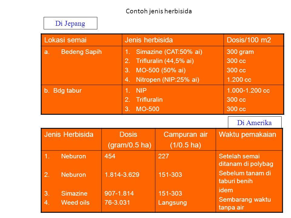 Contoh jenis herbisida Lokasi semaiJenis herbisidaDosis/100 m2 a.Bedeng Sapih1.Simazine (CAT:50% ai) 2.Trifluralin (44,5% ai) 3.MO-500 (50% ai) 4.Nitropen (NIP:25% ai) 300 gram 300 cc 1.200 cc b.
