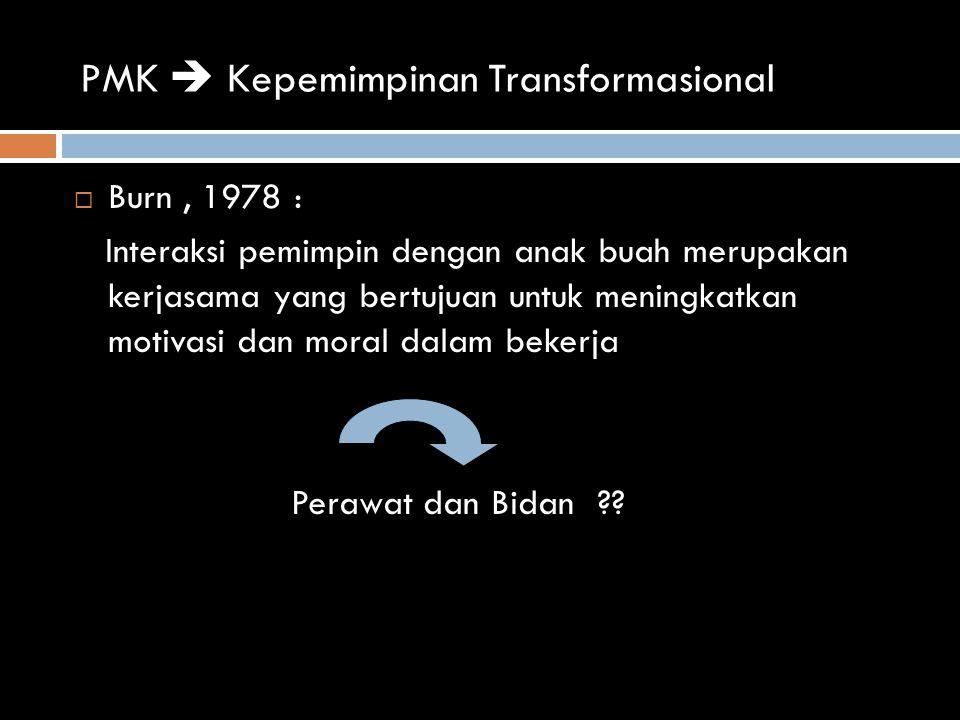 PMK  Kepemimpinan Transformasional  Burn, 1978 : Interaksi pemimpin dengan anak buah merupakan kerjasama yang bertujuan untuk meningkatkan motivasi dan moral dalam bekerja Perawat dan Bidan ??