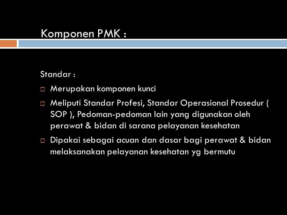 Komponen PMK : Standar :  Merupakan komponen kunci  Meliputi Standar Profesi, Standar Operasional Prosedur ( SOP ), Pedoman-pedoman lain yang digunakan oleh perawat & bidan di sarana pelayanan kesehatan  Dipakai sebagai acuan dan dasar bagi perawat & bidan melaksanakan pelayanan kesehatan yg bermutu
