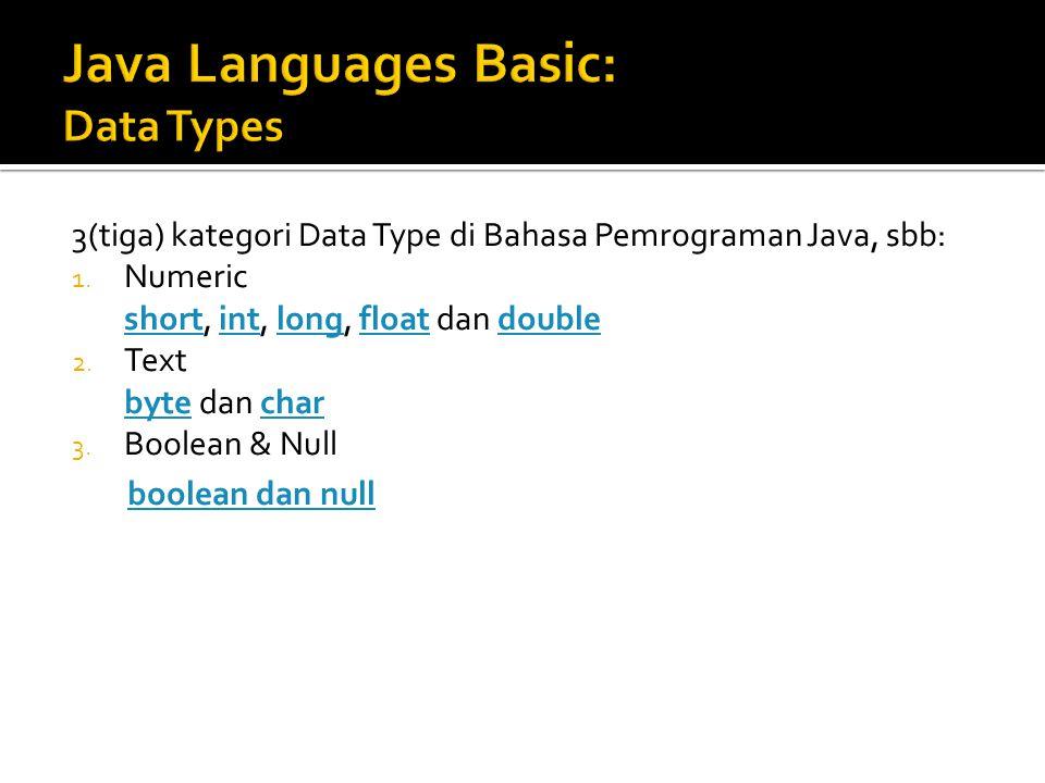 3(tiga) kategori Data Type di Bahasa Pemrograman Java, sbb: 1.