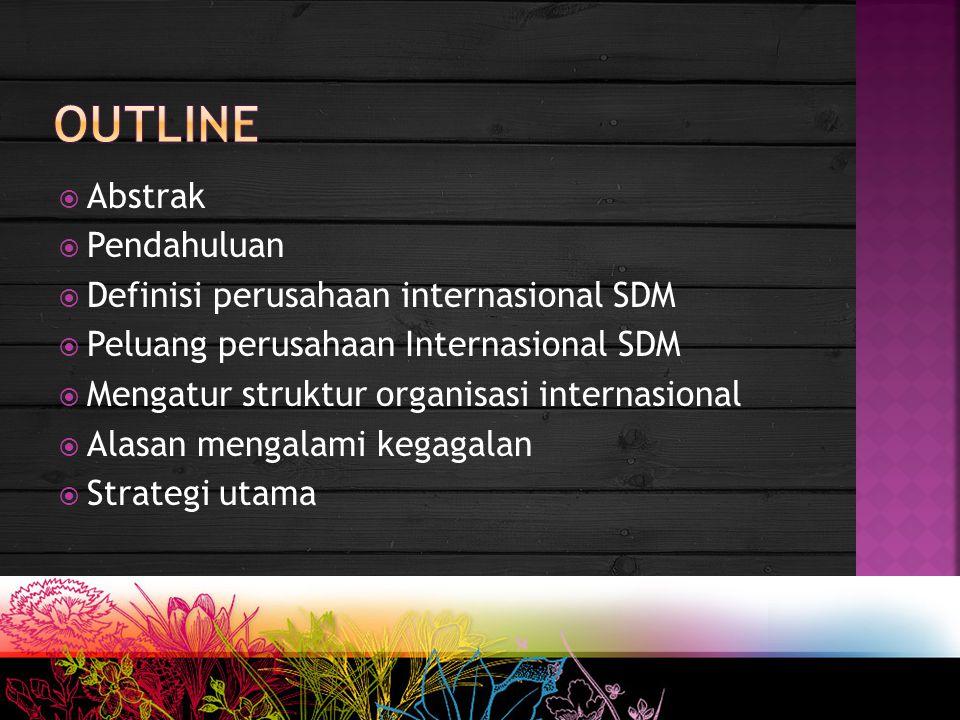  Abstrak  Pendahuluan  Definisi perusahaan internasional SDM  Peluang perusahaan Internasional SDM  Mengatur struktur organisasi internasional 
