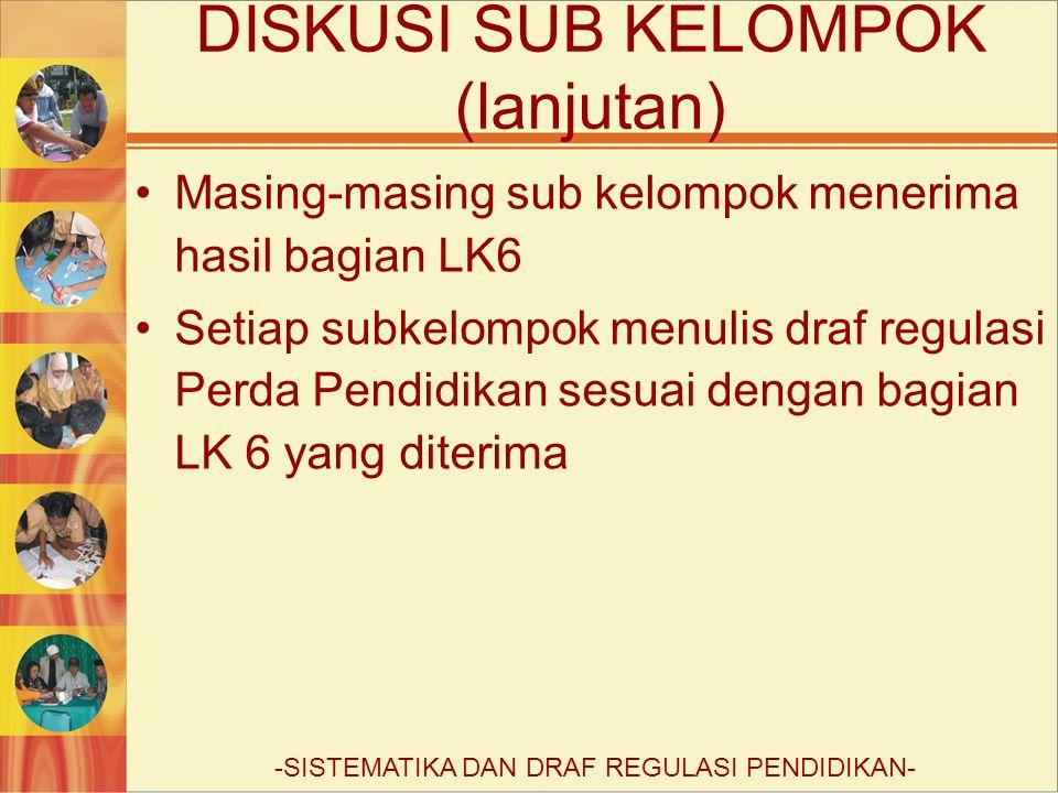 Masing-masing sub kelompok menerima hasil bagian LK6 Setiap subkelompok menulis draf regulasi Perda Pendidikan sesuai dengan bagian LK 6 yang diterima DISKUSI SUB KELOMPOK (lanjutan) -SISTEMATIKA DAN DRAF REGULASI PENDIDIKAN-