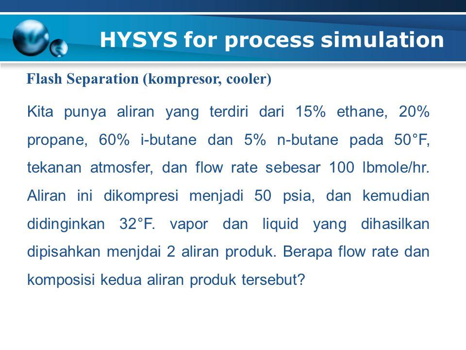 HYSYS for process simulation Flash Separation (kompresor, cooler) Kita punya aliran yang terdiri dari 15% ethane, 20% propane, 60% i-butane dan 5% n-butane pada 50°F, tekanan atmosfer, dan flow rate sebesar 100 lbmole/hr.
